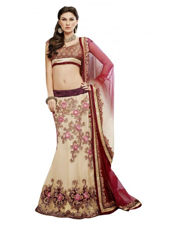 Soft Premium Net Mehendi Sangeet Wear Lehenga In Beige Color With Crystal Stone Work