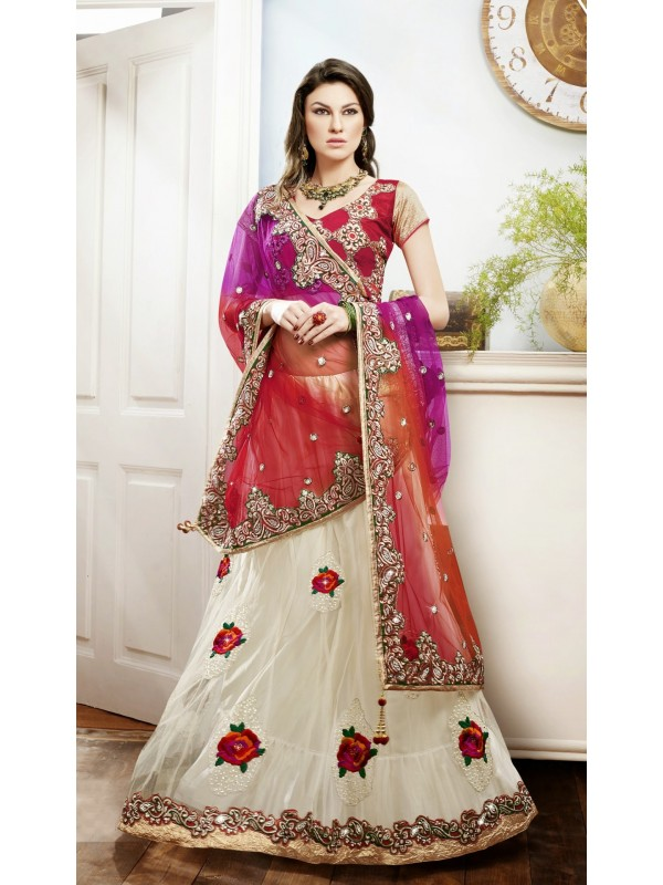 Soft Premium Net Party Wear Lehenga Saree In Red With Embroidery Work