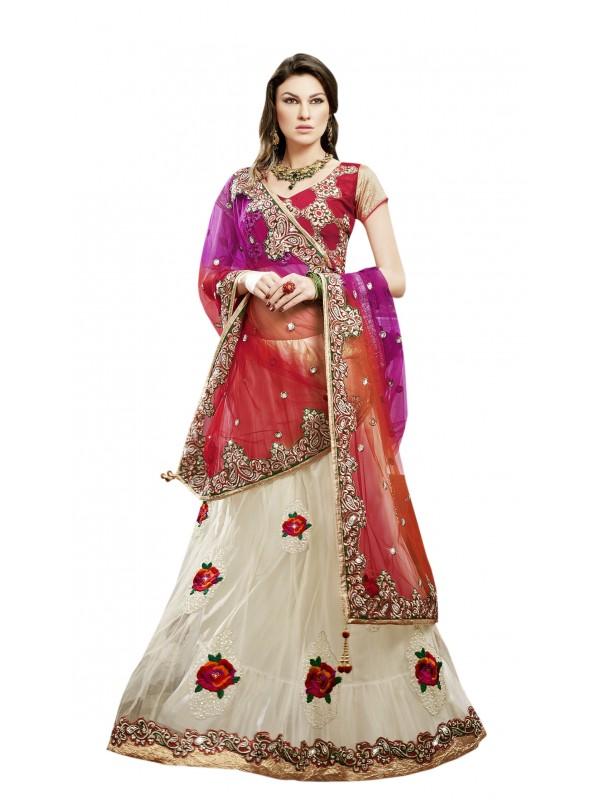 Soft Premium Net Mehendi Sangeet Wear Lehenga In Red & White With Crystal Stone Work