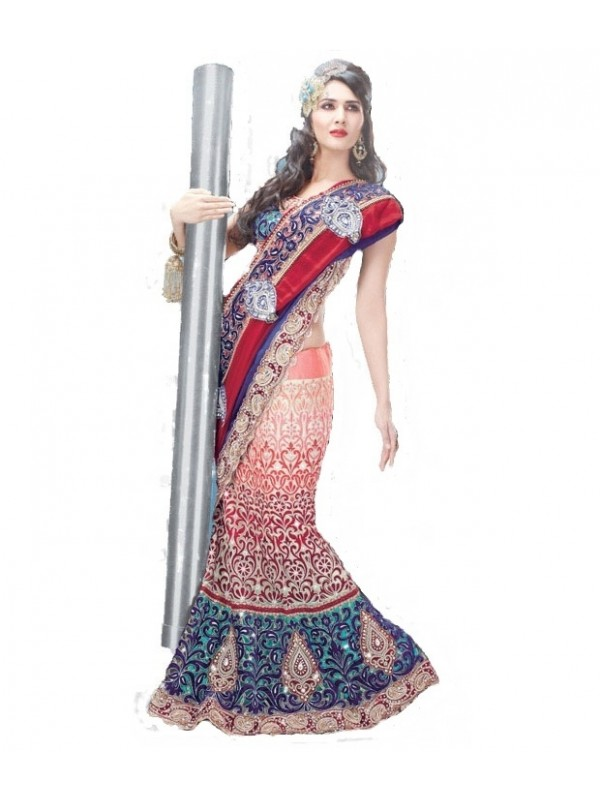 Soft Premium Net Mehendi Sangeet Wear Lehenga In Multi color Color With Crystal Stone Work