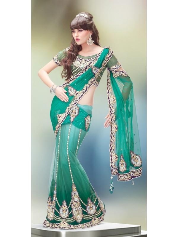 Soft Premium Net Party Wear Lehenga Saree In Green With Stone Work