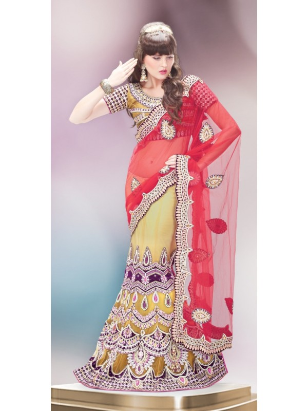Soft Premium Net Party Wear Lehenga Saree In Yellow & Red With Handwork