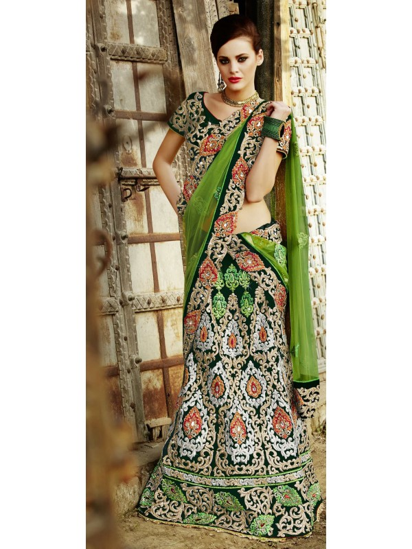Pure Micro Velvet Party Wear Lehenga Saree In Green With Embroidery Stone Work