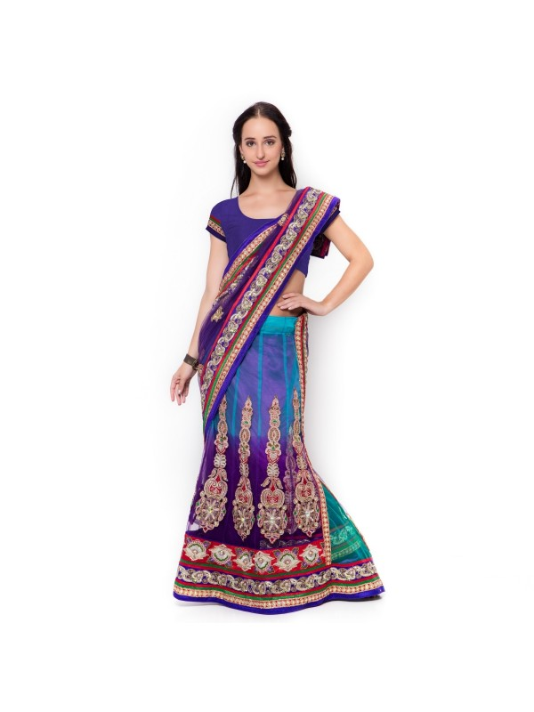 Soft Premium Net Party Wear Lehenga Saree In Blue WIth Embroidery & Crystal Stone Work