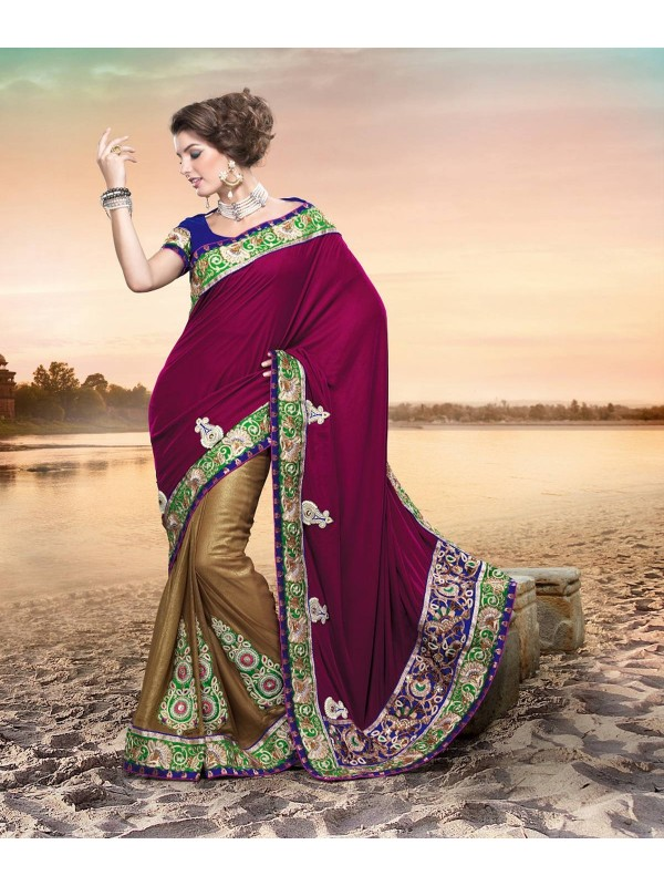 Pure Micro Vetvet Wear Saree In Rani Color WIth Embroidery & Crystal Stone Work