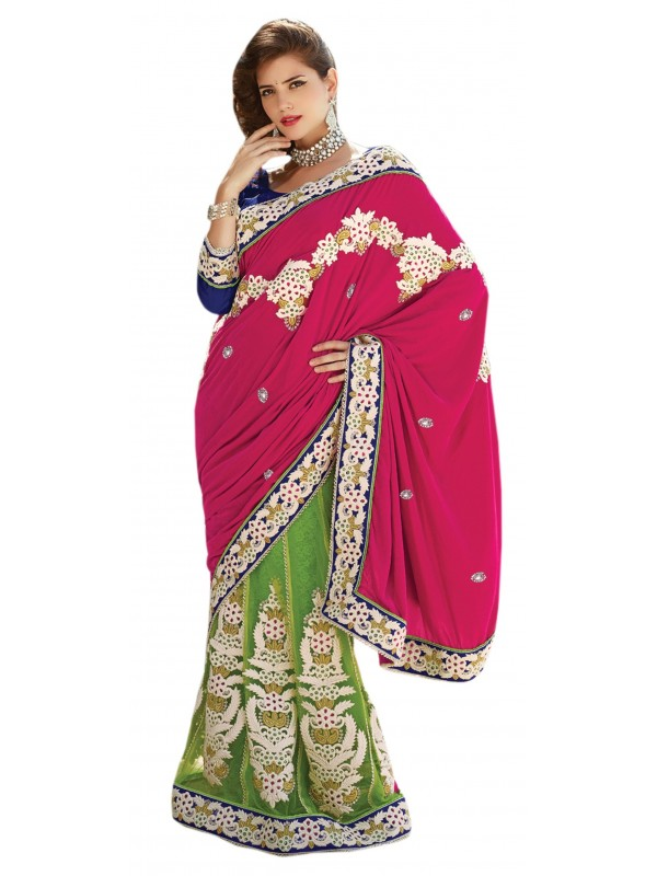 Pure Micro Velvet Party Wear Lehenga Saree In Pink & Green color WIth Embroidery & Crystal Stone Work