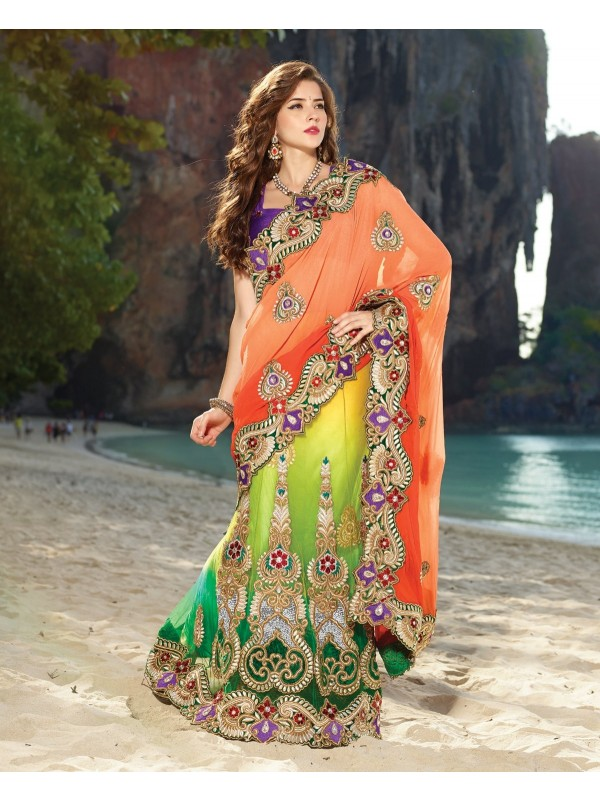 Pure Georgette Party Wear Lehenga Saree In Multicolor Color WIth Embroidery & Crystal Stone Work