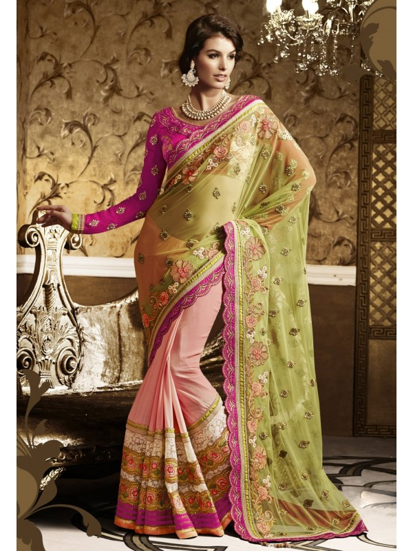 Soft Premium Net Party Wear Saree In Pink & Yellow With Embroidery Work