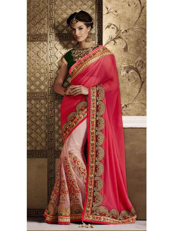 Soft Premium Net Party Wear Saree In Pink With Embroidery Work