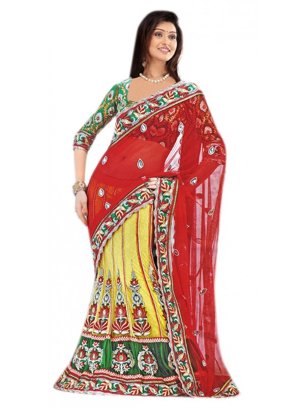 Soft Premium Net Party Wear Lehenga Saree In Red & Yellow With Stone Work