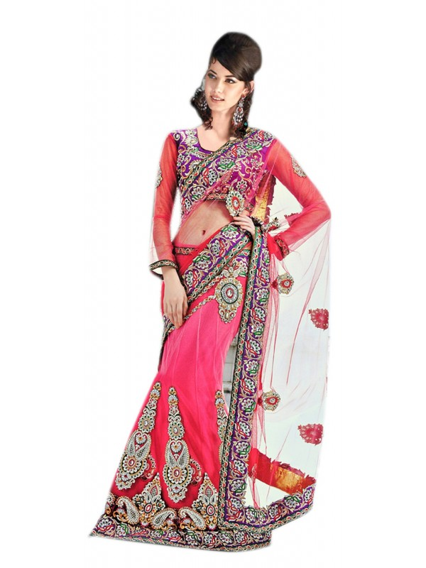 Soft Net Party Wear Lehenga Saree In Pink With Stone Work