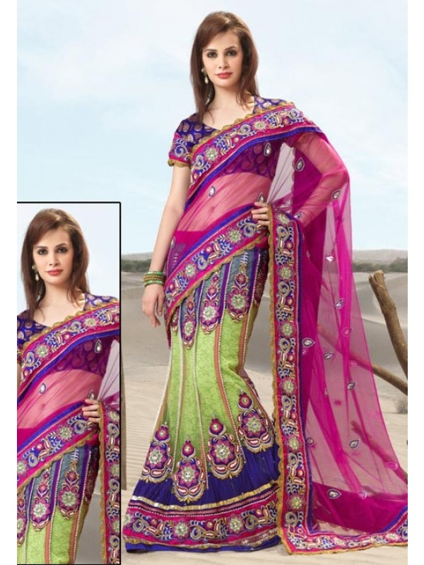 Soft Premium Net Party Wear Lehenga Saree In Rani With Embroidery & Stone Work