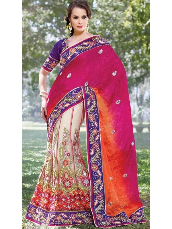 Jacquard Silk Party Wear Lehenga Saree In Pink & Cream With Stone Work