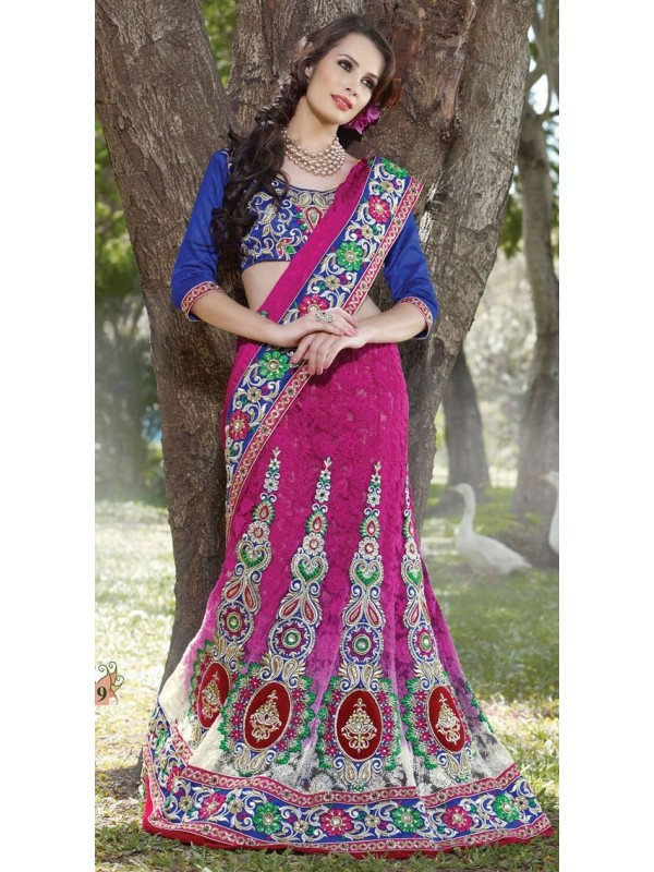 Jacquard Silk Party Wear Lehenga Saree In Pink With Stone Work