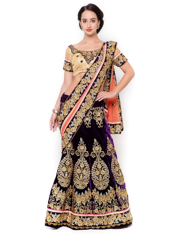 Pure Micro Velvet Wedding Wear Lehenga Saree In Purple With Stone Work
