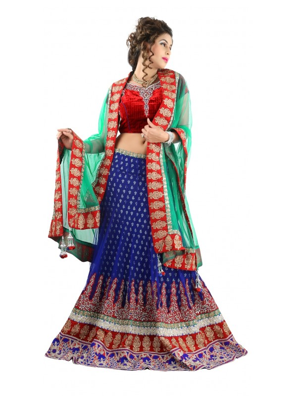 Soft Premium Net Party Wear Lehenga In Blue WIth Embroidery & Crystal Stone Work