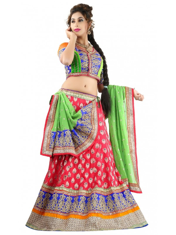 Pure Banarasi Silk Party Wear Lehenga In Red WIth Embroidery Work