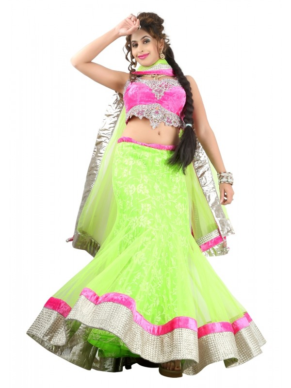 Soft Premium Net Party Wear Lehenga In Light Green WIth Embroidery & Crystal Work