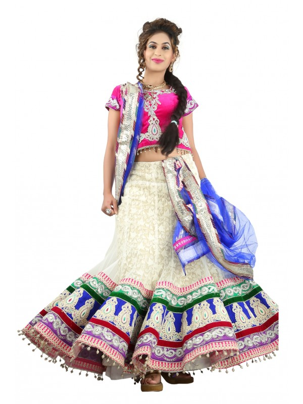 Soft Premium Net Party Wear Lehenga In White WIth Embroidery & Crystals Stone Work