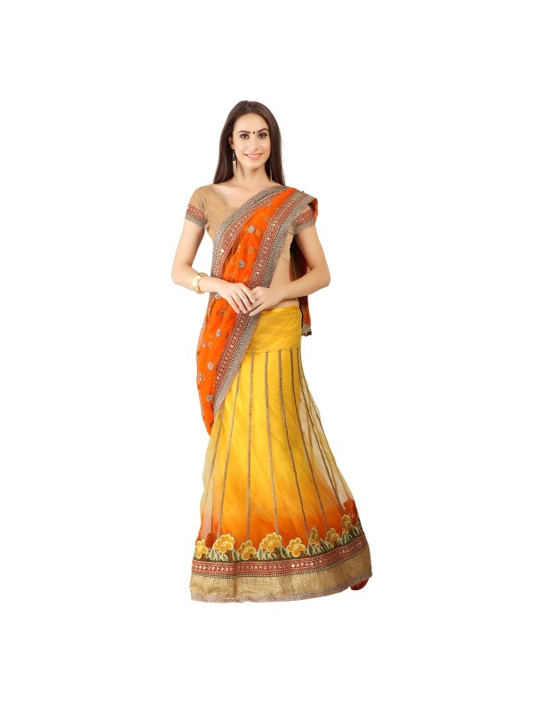 Soft Premium Net Party Wear Lehenga Saree In Yellow With Embroidery & Stone Work