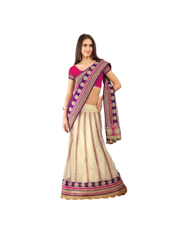Soft Premium Net Party Wear Lehenga Saree In Cream With Embroidery & Stone Work