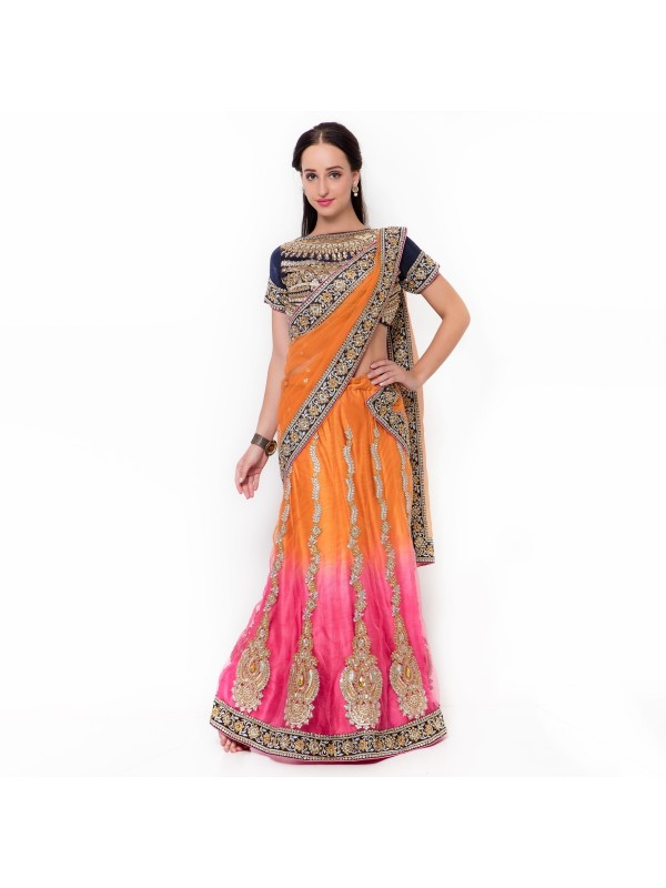 Soft Premium Net Party Wear Lehenga Saree In Orange & Pink With Embroidery & Stone Work