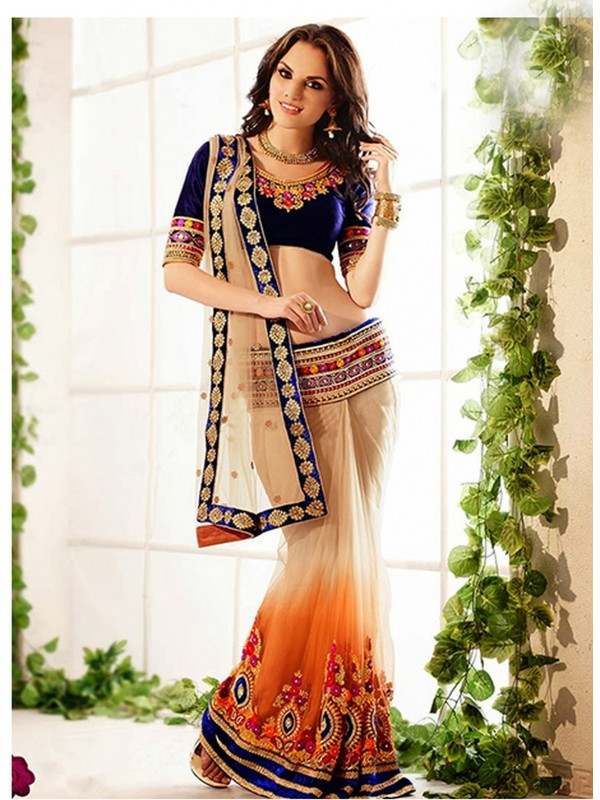 Soft Premium Net Party Wear Lehenga Saree In Beige Color With Embroidery & Stone Work