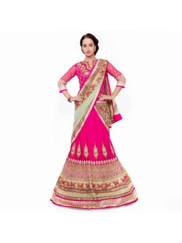 Soft Premium Net Party Wear Lehenga In Pink With Embroidery & Sequence Work