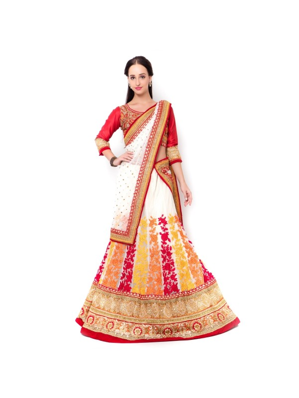 Soft Premium Net Party Wear Lehenga In White With Embroidery Work