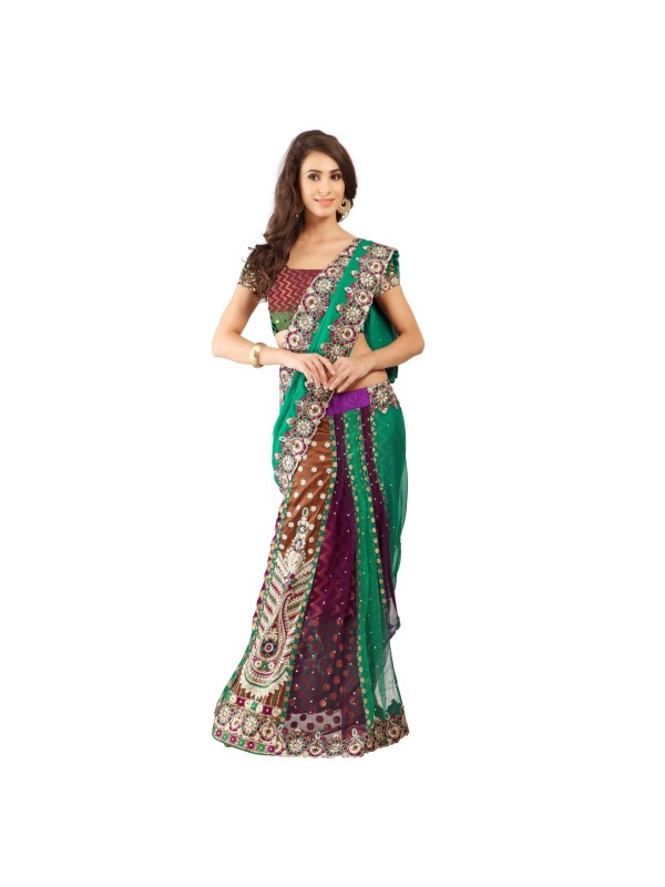 Soft Premium Net Party Wear Lehenga Saree In Multi Color With Embroidery & Stone Work