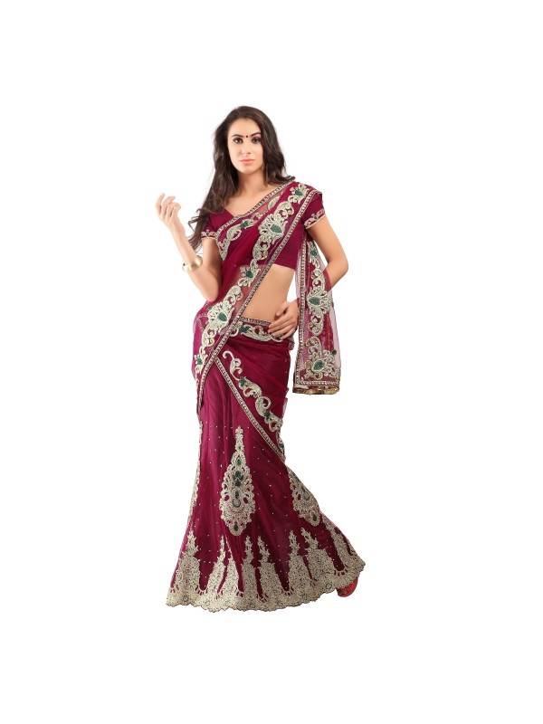Soft Premium Net Party Wear Lehenga  In red With Embroidery & Stone Work