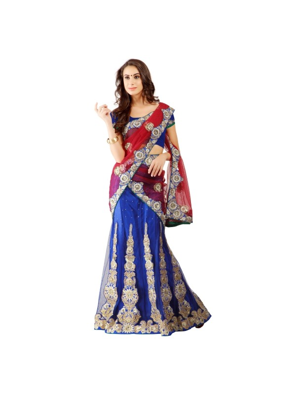 Soft Premium Net Party Wear Lehenga Saree In Blue With Embroidery & Stone Work