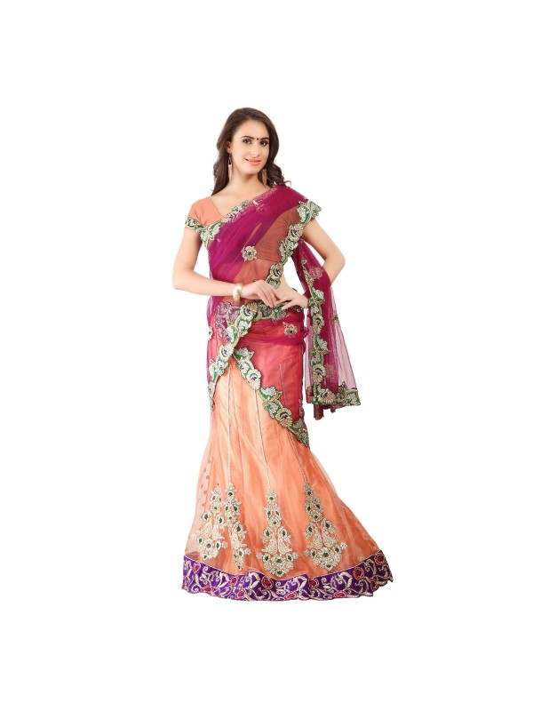 Soft Premium Net Party Wear Lehenga Saree In Peach With Embroidery & Stone Work