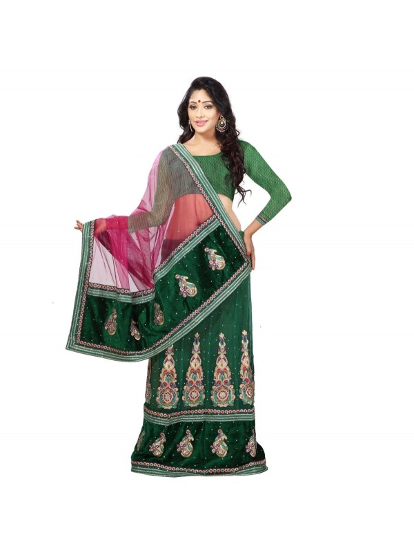 Soft Premium Net Party Wear Lehenga Saree In Green With Embroidery & Stone Work