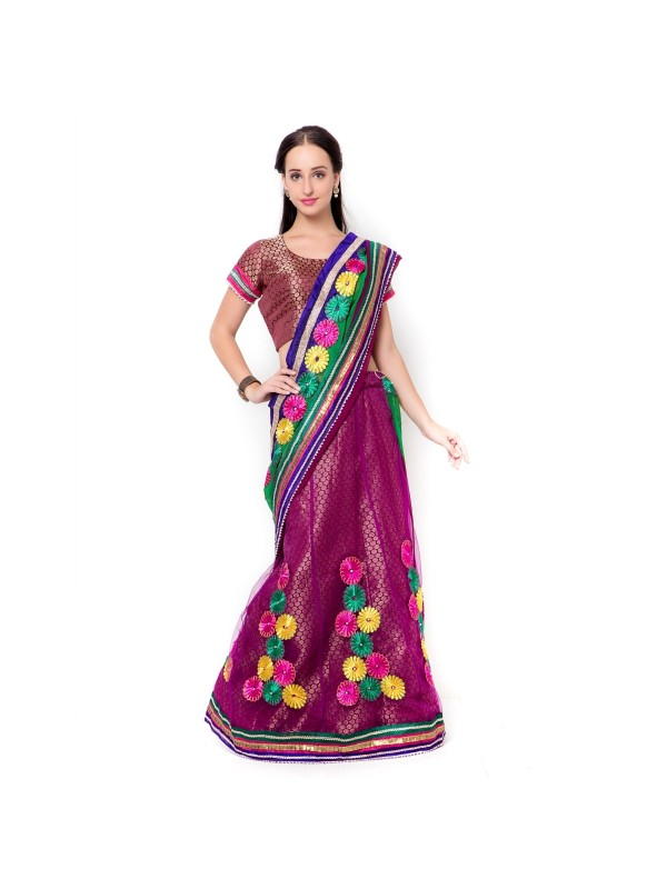 Soft Premium Net Party Wear Lehenga Saree In Purple With Embroidery & Stone Work