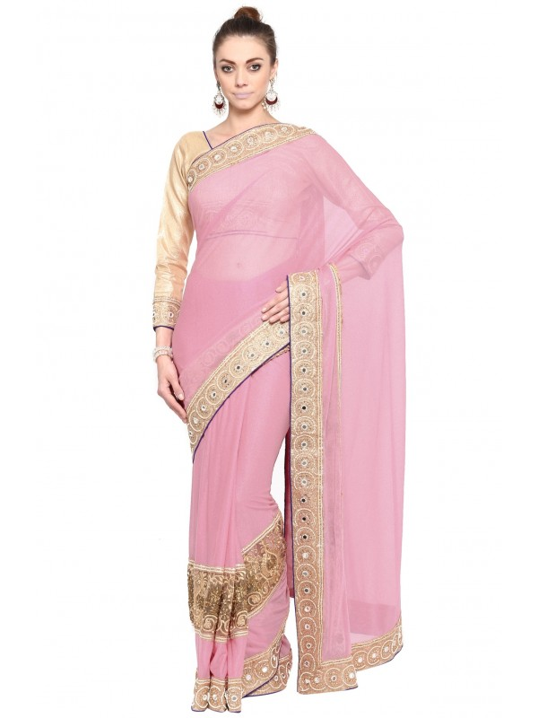 Fancy Imported Fabrics Party Wear Saree In Pink WIth Embroidery & Crystal Stone Work