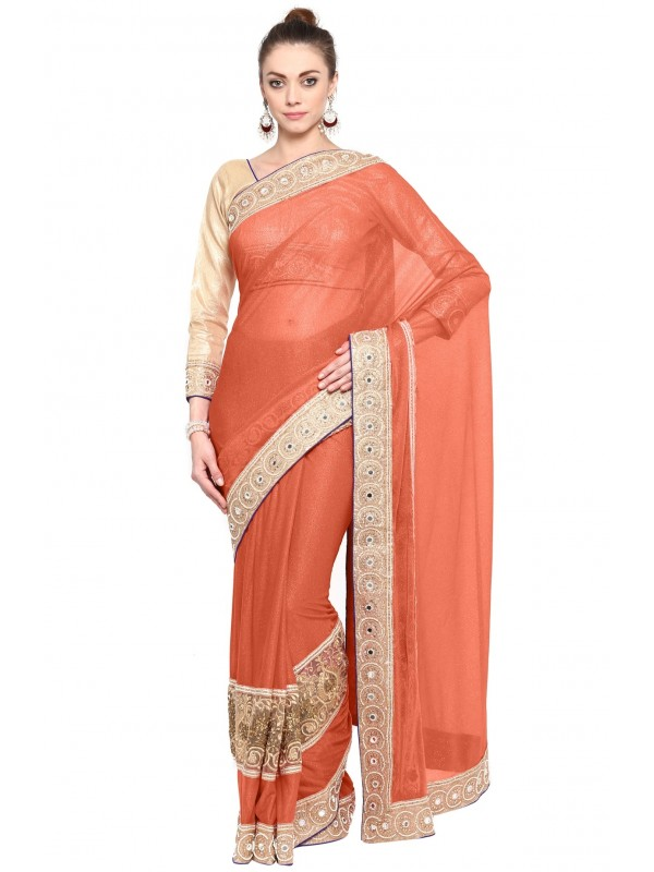 Fancy Imported Fabrics Party Wear Saree In Peach WIth Embroidery & Crystal Stone Work