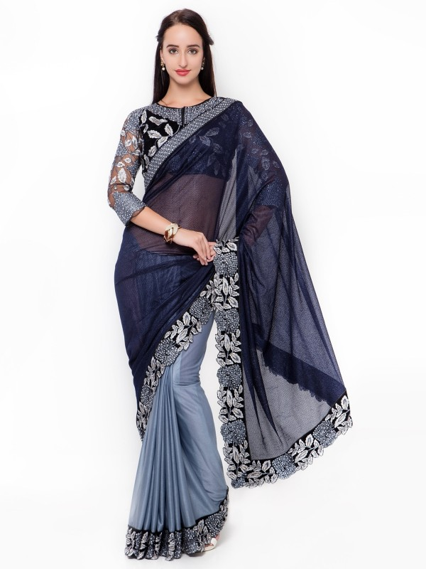 Fancy Chiffon Party Wear Saree In Blue With Embroidery Work & Crystals Stone Work