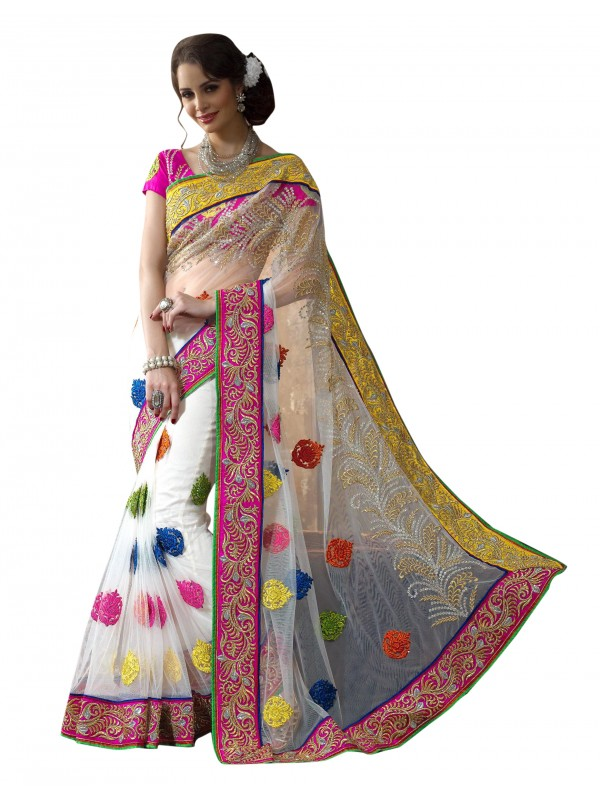 Soft Premium Net Party Wear Saree In White WIth Embroidery Work & Crystals Stone Work