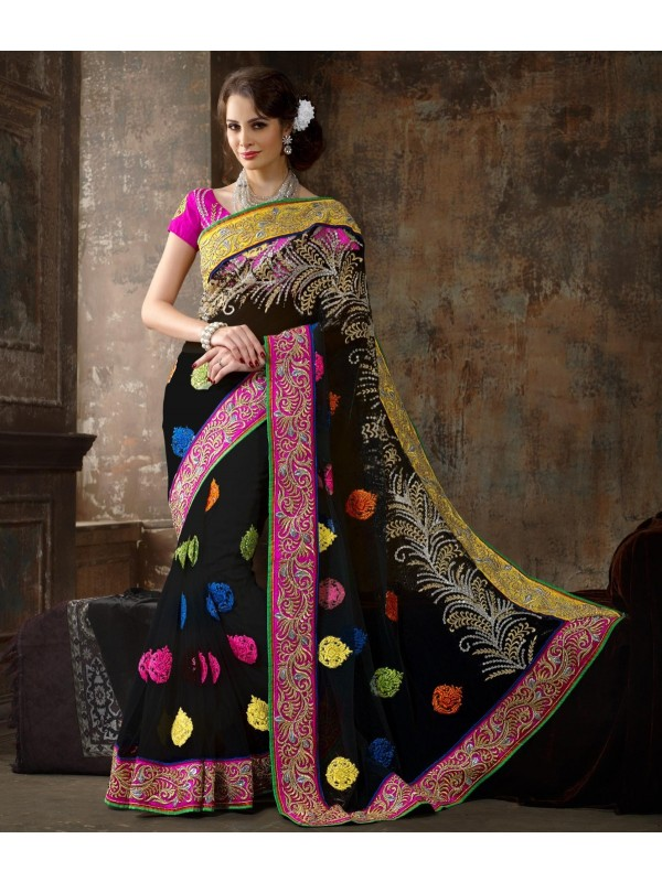 Soft Premium Net Party Wear Saree In Black WIth Embroidery Work & Crystals Stone Work