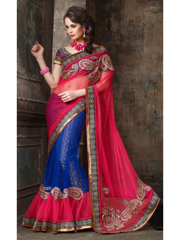 Soft Premium Net Party Wear Lehenga Saree In Pink & Blue With Stone Work