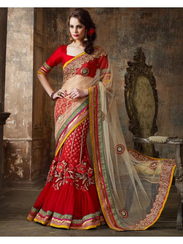 Soft Premium Net Party Wear Lehenga Saree In With Embroidery & Crystals Stone Work