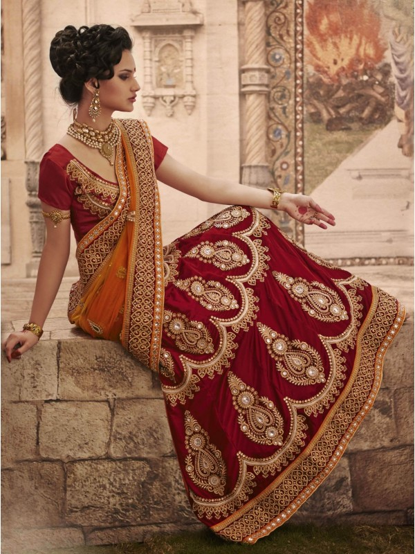 Pure Micro Velvet Wedding Wear Lehenga Saree In Red With Embroidery & Crystals Stone Work