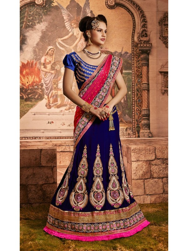 Pure Micro Velvet Wedding Wear Lehenga Saree In Blue With Embroidery & Crystals Stone Work
