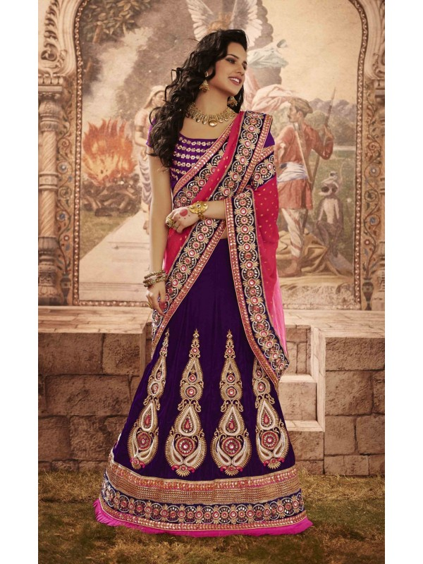 Pure Micro Velvet Wedding Wear Lehenga Saree In Purple With Embroidery & Crystals Stone Work
