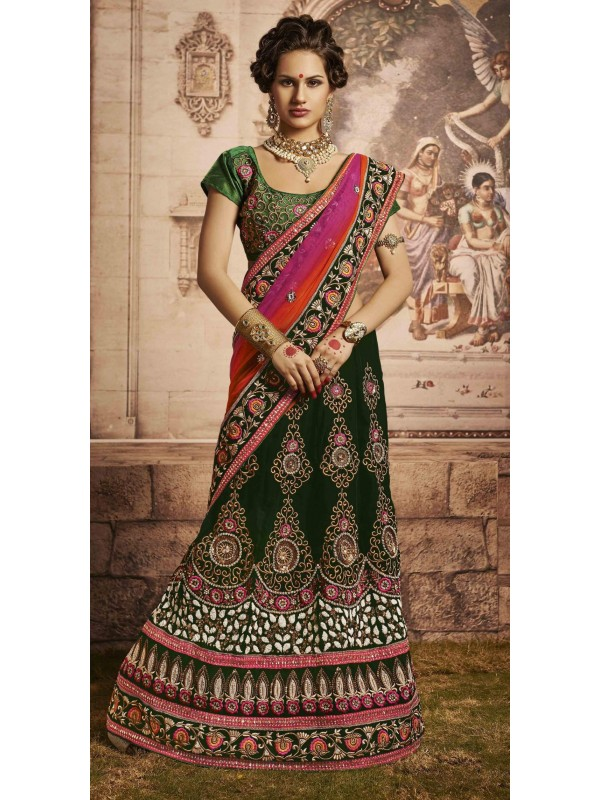 Pure Micro Velvet Wedding Wear Lehenga Saree In Green With Embroidery & Crystals Stone Work