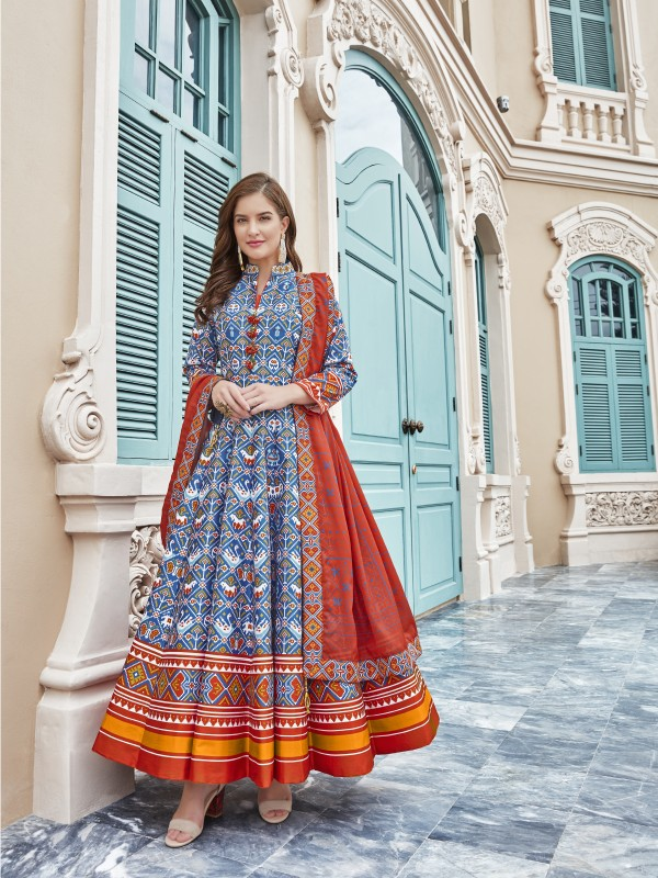 Killer Silk Party Wear Gown In Blue Color With Digital Patola print