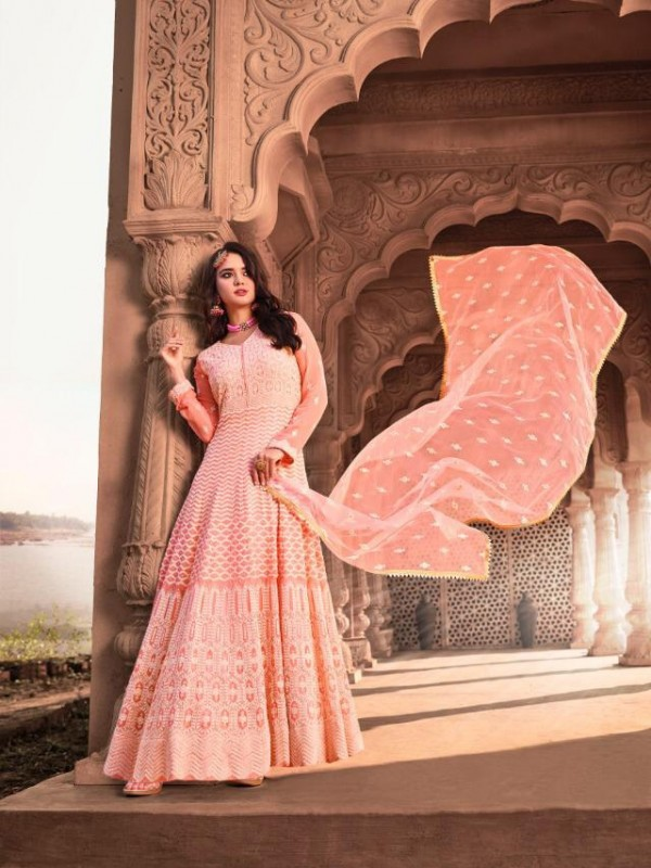 Pure Viscose Georgette With Lakhnowi  Embroidery Gown in Pink Color