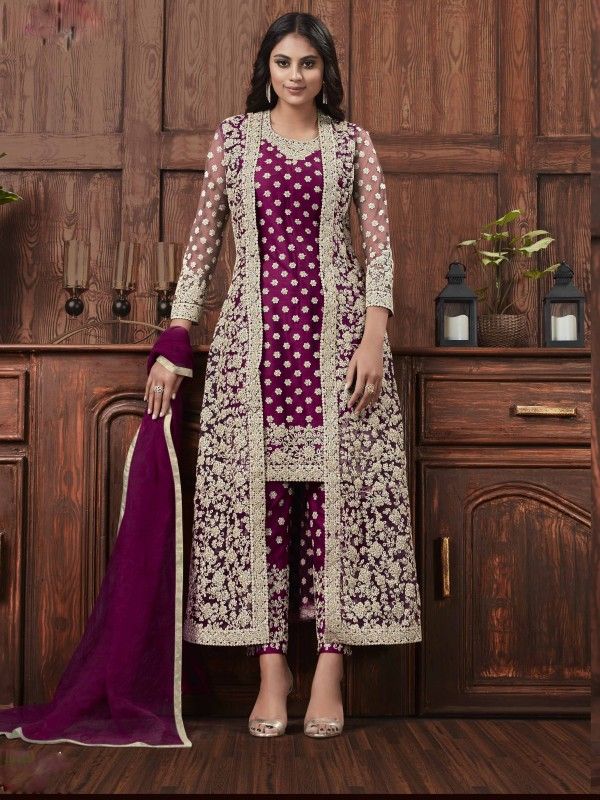 Butterfly Net Fabric Party Wear Suit In Pink Color With Embroidery