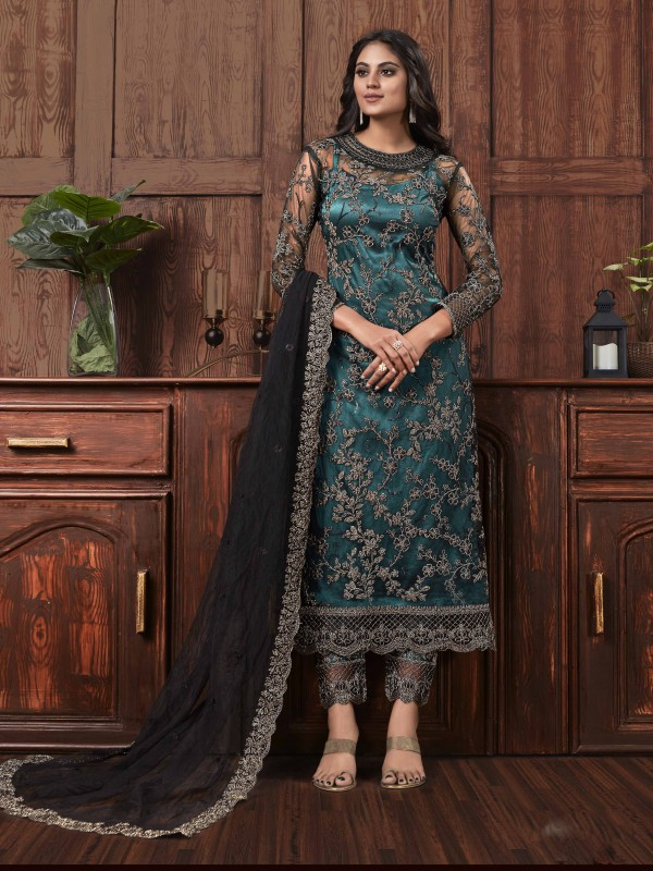 Butterfly Net Fabric Party Wear Suit In Black & Dark Turquoise Color With Embroidery